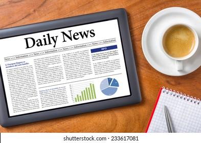 Tablet on a desk - Daily News