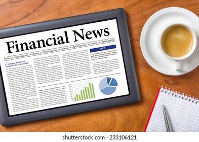 Tablet on a desk - Financial News