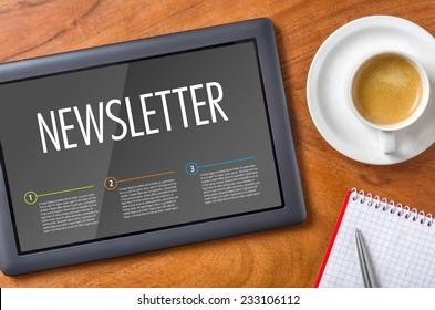 Tablet on a desk - Newsletter