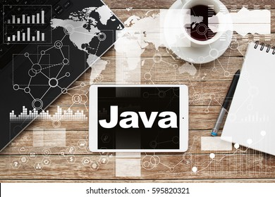 Tablet on desktop with java text.