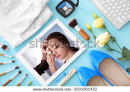 Tablet Online Training Video Professional Makeup Stock Photo Edit