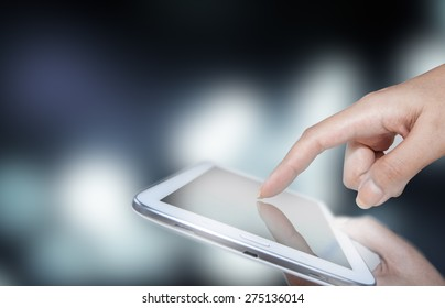 the tablet in the palm