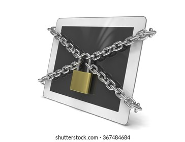 tablet PC with chains and lock isolated on white background