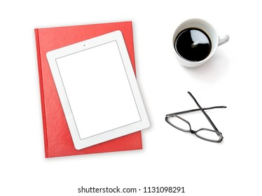 Tablet pc coffee glasses. Minimal flat lay white screen copy space