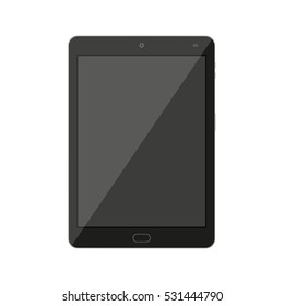 Tablet pc computer with blank screen isolated on white. illustration in flat style