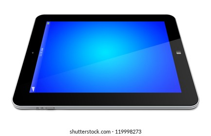Tablet PC computer with blue screen. 3d image