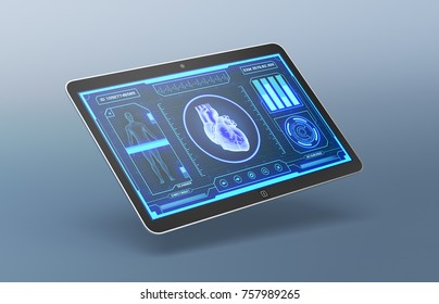 tablet pc with a futuristic app interface for medical and scientific purpose, human heart scanner (3d render)