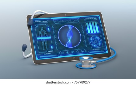tablet pc with a futuristic app interface for medical and scientific purpose, human dna scanner (3d render)