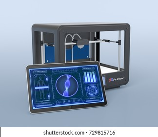 tablet pc with futuristic medical app and a 3d printer, concept of artificial organs (3d render)
