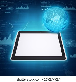 Tablet PC, globe and graphics. The concept of mobile communication