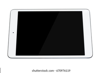 Tablet PC isolated on white background closeup