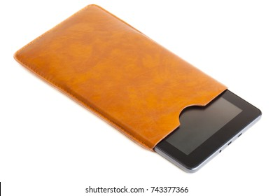 Tablet PC in the leather case