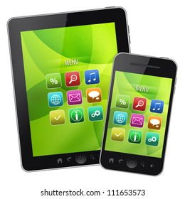 Tablet pc and mobile phone on isolated white background