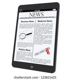 Tablet PC with News on a white background