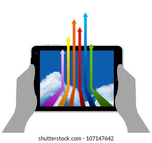 Tablet PC on Hand With Colorful Arrow on Blue Sky Screen Isolated on White Background
