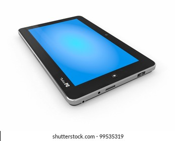 Tablet PC on white isolated background. 3d