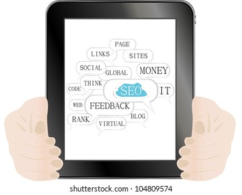 tablet pc with sign and tags on social engine optimization theme - raster