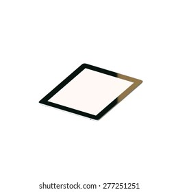 Tablet pc with touch screen isolated on white background