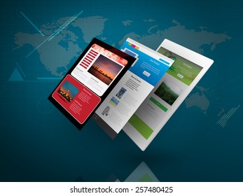Tablet PC with Web Page on Blue Technology Background as Telecommunication concept