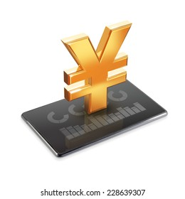 Tablet PC with yen sign on white background.