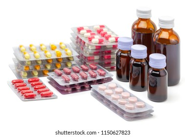 tablet of pills and syrup medicine on white background with copy space, health care and medical concept background, edit tone