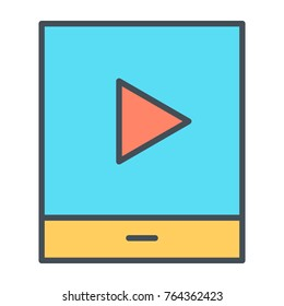 Tablet with play button thin line icon. 96x96 for Web Graphics and Apps.  Simple Minimal Pictogram.