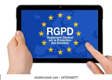 Tablet with RGPD èglement général sur la protection des données, the french words for General Data Protection Regulation GDPR