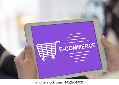 Tablet screen displaying an e-commerce concept