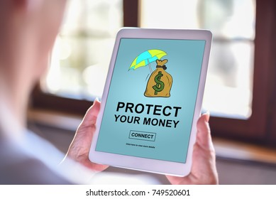 Tablet screen displaying a money protection concept