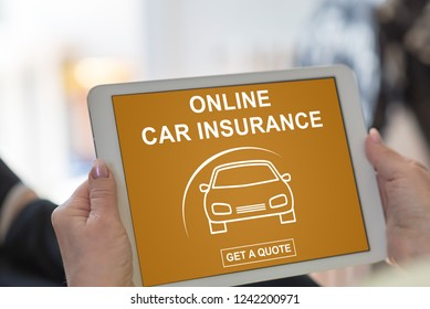 Tablet screen displaying an online car insurance concept