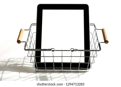 Tablet in a small shopping basket
