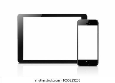 Tablet and smartphone mockup with blank screen isolated on white background, Concept mockup. Copyspace for text.