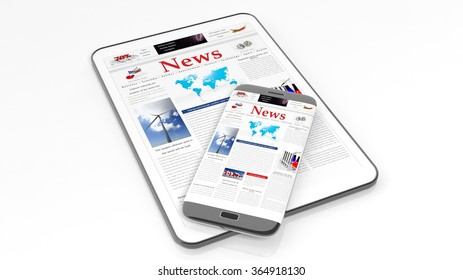 Tablet and smartphone with News website on screen,isolated on white background.