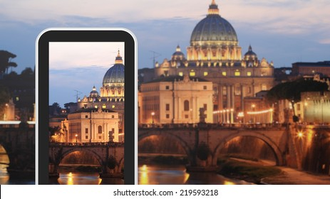 Tablet, smartphone taking picture of Rome Italy