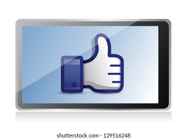 tablet with thumb up illustration design over a white background