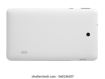 Tablet white with black on white background cutout isolated without screen side