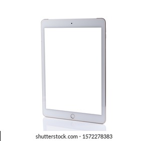 tablet white color with blank touch screen isolated on white background.