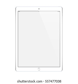 tablet white color with blank touch screen isolated on white background. stock illustration