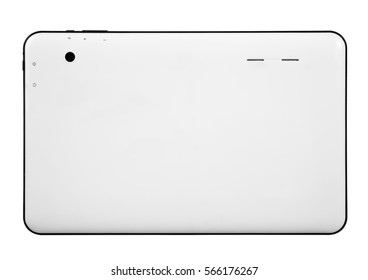 Tablet white on white background cutout isolated without screen side
