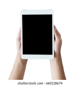 tablet in woman hand isolated on white background