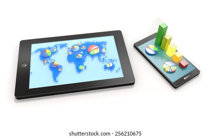 Tablet with world map and pie charts on screen and smart phone with bar graph visualization isolated on white background