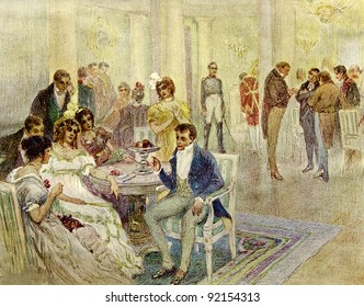 """Table-talk - illustration by artist A.P. Apsit from book """"Leo Tolstoy """"War and Peace"""", publisher - """"Partnership Sytin"""", Moscow, Russia, 1914."""