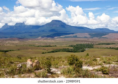 Table-top mountains called Tepui in Gran Sabana, Guayana Highlands, Venezuela, South America. Events of novel of A.Conan-Doyle The Lost World took place here