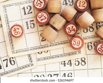 Tabletop old lotto game with wooden elements. Cards bingo