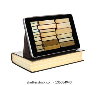 The Tablet-PC is on the hardcover book