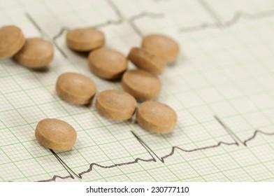 Tablets on electrocardiogram paper, closeup shot, local focus