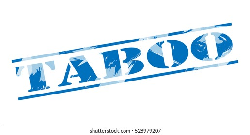 taboo blue stamp on white background