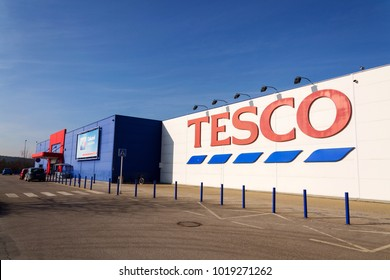 TABOR, CZECH REPUBLIC - FEBRUARY 6 2018: Tesco company logo on the supermarket building on February 6, 2018 in Tabor, Czech Republic.