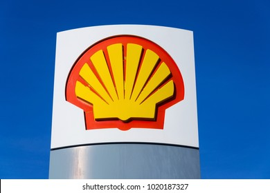 TABOR, CZECH REPUBLIC - FEBRUARY 6 2018: Royal Dutch Shell international oil and gas company logo on fuel station on February 6, 2018 in Tabor, Czech Republic.