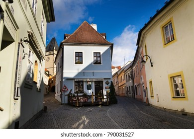 TABOR, CZECH REPUBLIC - NOVEMBER 19: Old picturesque streets near Zizka square on sunny autumn day on November 19, 2017 in Tabor, Czech Republic.